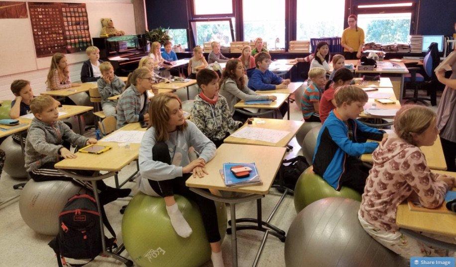 Innovative Classroom Yoga ~ Yoga balls in rows modern learners